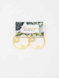 Gold Plated Hoop Earrings with Eye Details