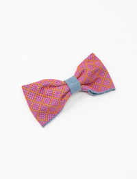 Embroidered Bow Hair Clip (Pink & Orange)