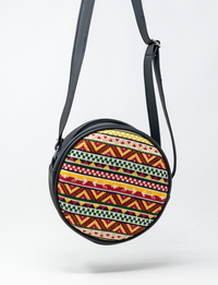 Circular Embroidered Purse (Yellow & Red)