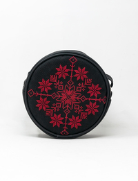 Circular Embroidered Purse (Red and Black)