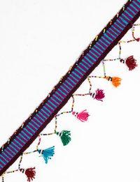 حزام مصنوع يدويا بشراشيب متعددة الألوان (التركواز و خطوط باللون الفوشي)