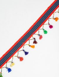Handmade Belt with Multicolor Tassels (Turquoise and Fuschia Stripes)