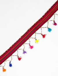 Handmade Belt with Multicolor Tassels (Pink, Orange and Green)