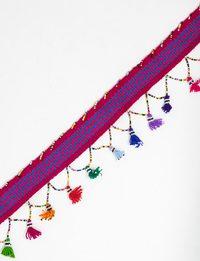 حزام مصنوع يدويا بشرابات متعددة الألوان (الزهري و الأزرق)