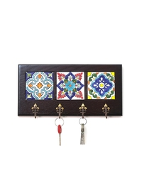 Decorative Key Hanger with Handpainted Ceramics (Dark Wood)