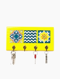 Decorative Key Hanger with Handpainted Ceramics (Yellow)