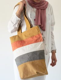 Striped Cloth Bag: Brown, Grey and Pink