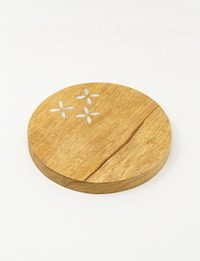 Inlaid Mother of Pearl Round Wooden Board and Serving Plate - Beige
