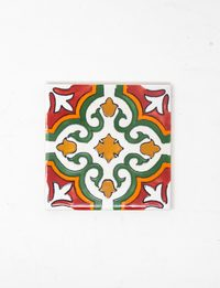 Decorative Ceramic Tile - Green Flower