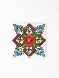 Decorative Ceramic Tile - Floral Design in Red & Brown