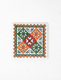 Decorative Ceramic Tile - Green & Orange Geometric