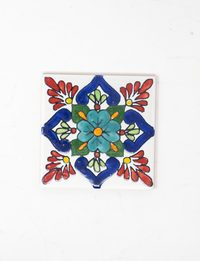Decorative Ceramic Tile - Floral Design in Red & Blue
