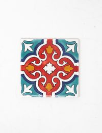 Decorative Ceramic Tile - Red Flower