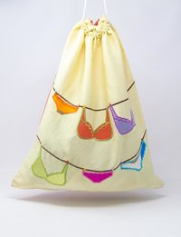Yellow Silk and Organza Embroidered Fabric Bag - Underwear Shapes