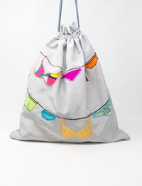 Grey Silk and Organza Embroidered Fabric Bag - Underwear Shapes