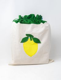Vegetable White and Green Fabric Bag with Lemon Design