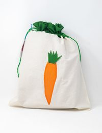 Vegetable White and Green Fabric Bag with Carrot Design