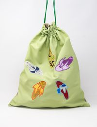 Pale Green Silk and Organza Embroidered Fabric Bag - Slippers Shapes