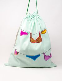 Frost White Silk and Organza Embroidered Fabric Bag - Underwear Shapes