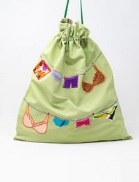 Pale Green Silk and Organza Embroidered Fabric Bag - Underwear Shapes