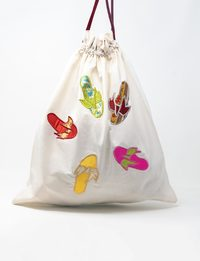White Silk and Organza Embroidered Fabric Bag - Slippers Shapes