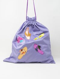 Purple Silk and Organza Embroidered Fabric Bag - Slippers Shapes