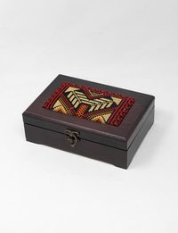 Rectangular Embroidered Wooden Box - Medium