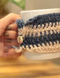 Blue and White Striped Cup Sleeve