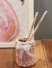 Pink and Grey Knitted Pen Holder