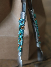 Beaded Serving Utensil (Orange and Blue)