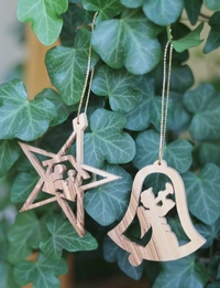 Olive Wood Ornaments: Star and Angel