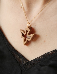 Olive Wood Pendant: Large Dove