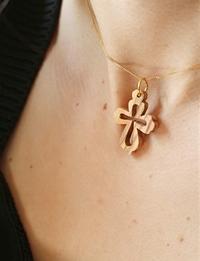 Olive Wood Pendant: Ornate Cross
