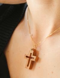 Olive Wood Pendant: Large Cross
