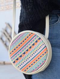 Circular Embroidered Purse: Cream