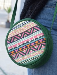 Circular Embroidered Purse: Green
