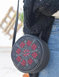 Circular Embroidered Purse: Black