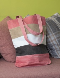 Striped Cloth Bag (Bright Pink, Brown, Tan and White)
