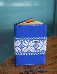 Traditional Embroidered Notebook: Blue and White