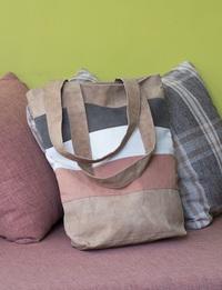 Striped Cloth Bag (Orange, Brown, Tan and White)