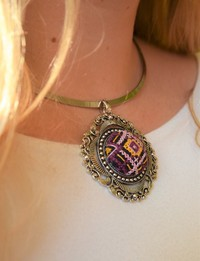 Embroidered Choker: Purple and Yellow