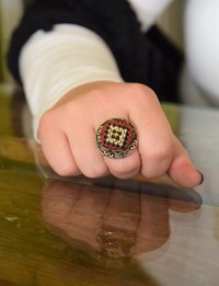 Embroidered Ring: Tan and Red