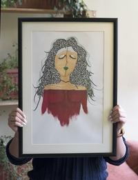لوحة فتاة الخط