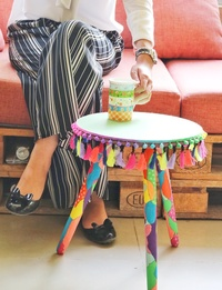 Hand-Painted Boho Side Table: Green (Small)