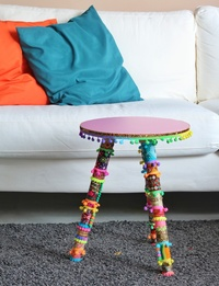 Eclectic Boho Side Table: Pink (Medium)