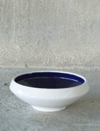 Ceramic Bowl - Medium (White and Dark Blue)