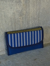 Fabric Wallet (Blue with Striped Lid)