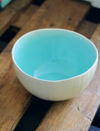 Large Ceramic Bowl in White + Light Blue