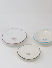 Porcelain Saucers in Blue, Maroon, and Green