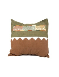 Hand-embroidered Square Pillow Cover (Mahogany and olive)